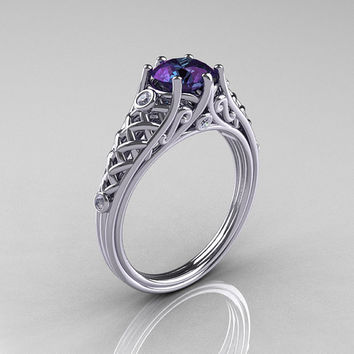Classic French 18K White Gold 1.0 Carat Alexandrite Diamond Lace Ring R175-18WGDAL