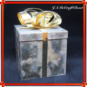 Vintage GODINGER Tarnished Looking (On Purpose) Metal Silver Gift Box With Gold Bow-Candlestick Holder-Birthday Decor-Holiday Decor-Gift