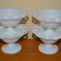 Old Colony Milk Glass Dessert Dishes by Anchor Hocking