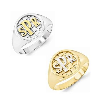 Gold & Silver Accent Monogram Signet Ring