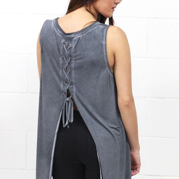 Watch My Back Lace Up Mineral Wash Tank {Ash}