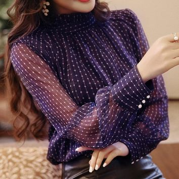 Chiffon  Polka Dot High Collar Blouse