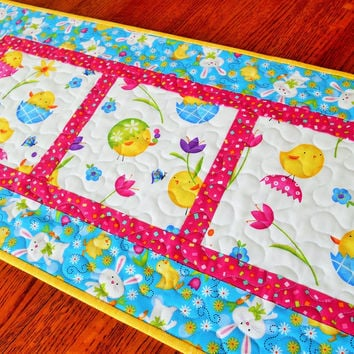 Easter Quilted Table Runner - Easter Table Decor - Easter Chicks and Bunnies - Pink Turquoise and Yellow