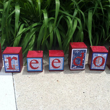 Patriotic Painted Wood Blocks, Letter Blocks, Patriotic Home Decor,