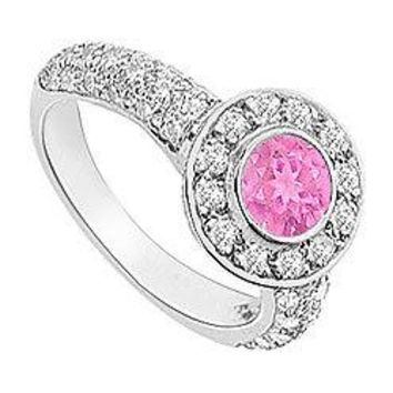 Pink Sapphire and Diamond Halo Engagement Ring : 14K White Gold - 2.25 CT TGW