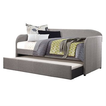 Twin Modern Grey Fabric Upholstered Daybed with Trundle