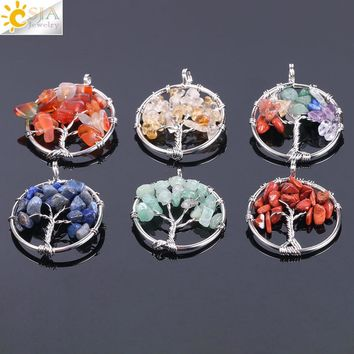 CSJA Tree of Life Necklace & Pendant Silver-color Crystal Natural Gem Stone Chip Beads 7 Chakra Wire Wrapped Women Jewelry F141