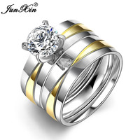 JUNXIN Luxury Crystal White Zircon Silver Gold Colors Stainless Steel Ring New Fashion Jewelry Men Women Wedding Rings SMT0399