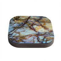 "KESS Original ""Opalized Marble"" Blue Brown Coasters (Set of 4)"