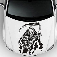 Hood Auto Car Vinyl Decal Stickers Abstract Grim Reaper Death 7361