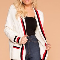 Walk The Line White Stripe Cardigan