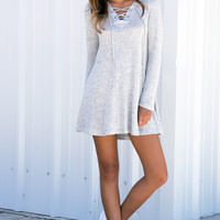 Lace Up Long Sleeve Heather Grey Dress