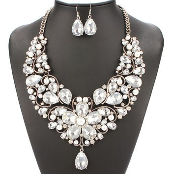 Transparent Faux Pearl Necklace and Earrings Jewelry