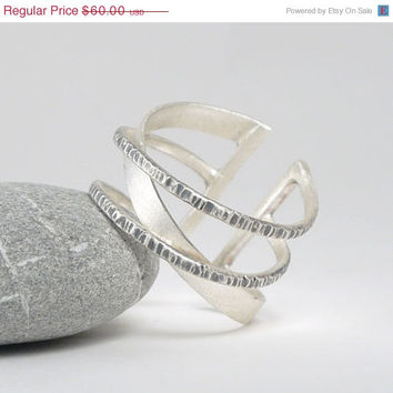 ON SALE Silver thumb ring -Adjustable geometric silver ring with mixed textures hammered oxidized and silver with a rough finish