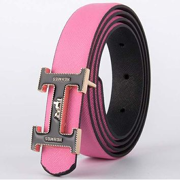 Hermes 2018 new men's business casual fashion belt smooth buckle belt Pink