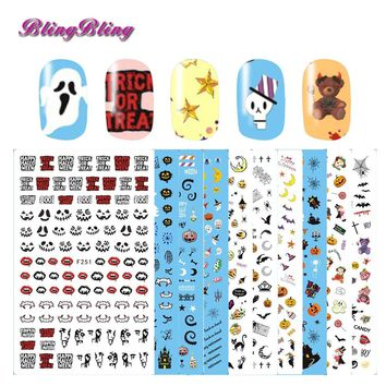 10 Styles Holloween Nail Sticker Adhesive 3D Nail Stickers Horrible Design Nail Art Ghost Skull Bat Pattern For Nails