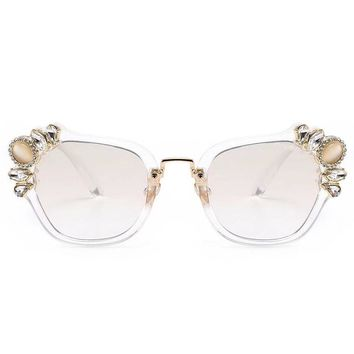 Miu Miu Trending Ladies Stylish Delicate Crystal Summer Sun Shades Eyeglasses Glasses Sunglasses Transparent Frame I-8090-YJ