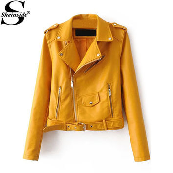 Sheinside Autumn Lady Outerwears Women's Faux Leather Belted With Zipper Lapel Long Sleeve Pockets Moto Jacket