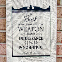 Quote on Canvas A Book is the Most Effective Weapon by StoicDesign
