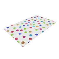 "Beth Engel ""Seeing Dots"" Rainbow White Woven Area Rug"