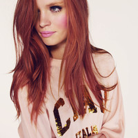 CIAO ITALIA- BARCELONA PULLOVER at Wildfox Couture in  PINK PEONY, - CLEAN BLACK