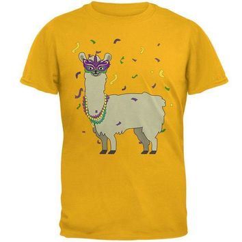 PEAP Mardi Gras Llama Beads Mask Mens T Shirt