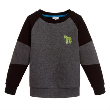 Paul Smith Boys Grey Contrast Black Sweatshirt
