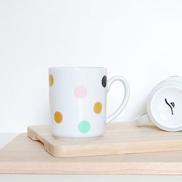 Minimalist Mug . Pastel Polkadots . Pink, Mint and Gold . French Ceramic . Tea Glass . Dishes . Tea Time . Colored Dots. Coffee . Herbal Tea