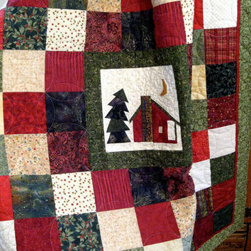 Quilted Trip Around The Cabin Lap Quilt or Wall Hanging Christmas