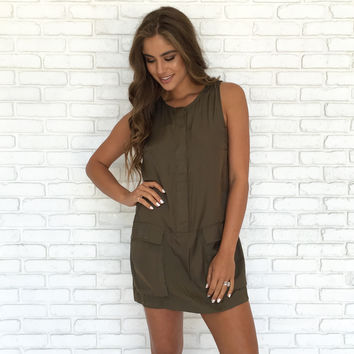 Sleek As Satin Pocket Dress In Olive