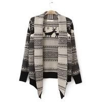 Black and White Reindeer and Geometric Pattern Fold Collar Open Cardigan Sweater