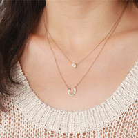 Hammered lucky horseshoe charm with mini solitaire cubic zirconia diamond pendant - 14K gold filled necklace - simple layering jewelry