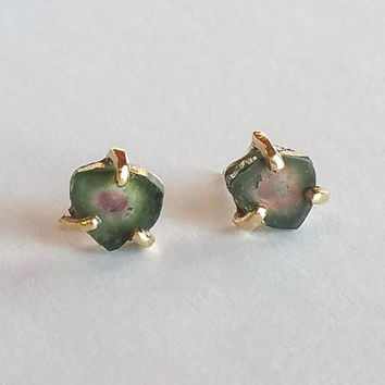 Watermelon Tourmaline Slice Studs, Solid 18k Gold Posts & Prongs Watermelon Tourmaline Earrings, Mothers Day Raw Crystal  Gold Stud Earrings