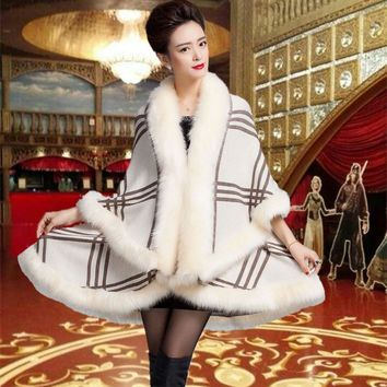 10 Colors Faux Fur Coat New 2015 Winter Luxury Faux Fox Fur Poncho Long Bat Sleeve Plaid Knitted Cardigan Shawl Cape Wool FS882