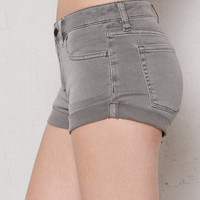 Bullhead Denim Co. Shady Gray Mid Rise Super Stretch Denim Shorts at PacSun.com