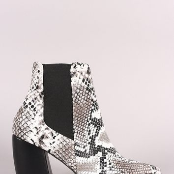 Qupid Snake Pointy Toe Elastic Gore Chunky Heeled Booties