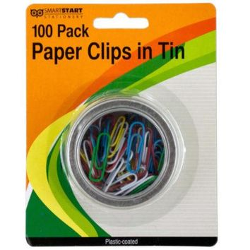 Plastic Coated Paper Clips in Round Tin ( Case of 24 )