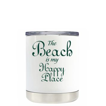 The Beach is my Happy Place on White 10 oz Lowball Tumbler