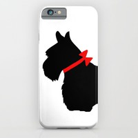 Scottie Dog with Red Bow iPhone & iPod Case by Marianna Mills