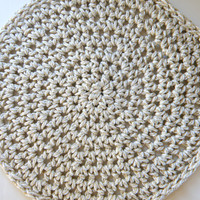Front Door Mat, Outdoor Entry Rug, Round Crocheted Rug Using a Thick Braided Cord, Waterproof Doormat