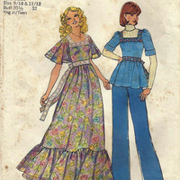 Vintage Sewing Pattern 70s Boho Dress Top Simplicity 7174 UNCUT Dated 1975 Original not a Repro Teen Sizes 9 10 and 11 12