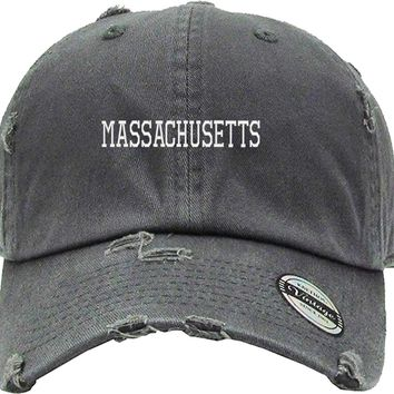 MASSACHUSETTS Distressed Baseball Hat