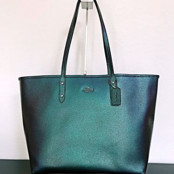 NWT Coach F22550 Open City Tote Hologram Pebble Leather Handbag Purse Bag $395