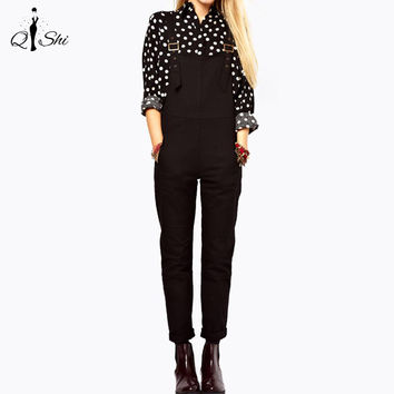 New Women Jumpsuit Fashion Black Preppy style Pockets jumpsuits Casual Adjustable Overalls Plus Size enteritos mujer