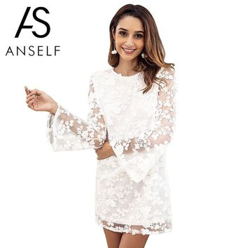 Anself Women Embroidered Floral Lace Dress Open Back Sheer Long Sleeves Backless dress Casual Party Mini Shift Dress White Ropa