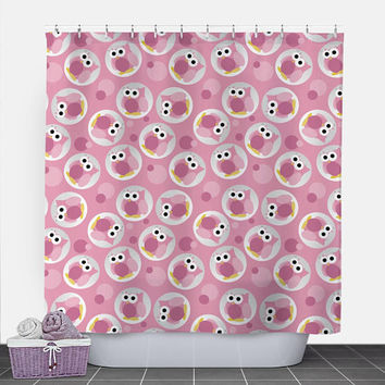Owl Shower Curtain - Funny Cute Pink Owl Pattern - 71x74 - PVC liner optional - Made to Order