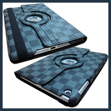 IPad 4 3 2 Cover Luxury Grid Pattern 360 Smart Rotating PU Leather Case ipad 4 ipad 3 ipad 2 - Grey