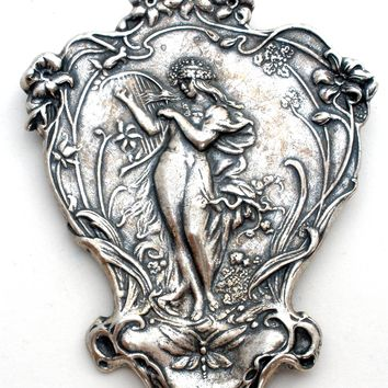 Art Nouveau Style Lady with Harp Brooch Pin