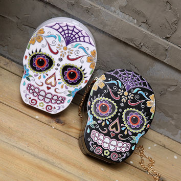 Fashion Painting Skull Women Day Clutches Purse 2017 Luxury Handbags Women Bags Designer Evening Bag Chains Crossbody Bag