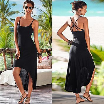 Fashion Sleeveless Strap Solid Color Backless Hollow Irregular Dress